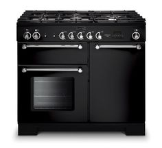 Rangemaster 98790 Kitchener Dual Fuel Range Cooker in Black and Chrome. Call 01302 63 88 05 for prices. Black Range Cooker, Dual Fuel Range Cookers, Oven And Hob, American Fridge Freezers, Domestic Appliances, Kitchen Family Rooms, Built In Ovens, Electric Oven