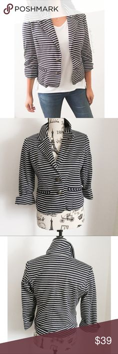 """Anthro Cartonnier Blue & White Stripe Blazer ✦   ✦  ❥chest:20"""" ❥waist:18"""" ❥length:19"""" ❥sleeves:16.5"""" ➳material/care:rayon +35% polyester + cotton lining/Dry cleaning  ➳fit:in my opinion kind of swingy like a Mary Tyler Moore Style Jacket semi cropped  ➳condition:gently used   ✦20% off bundles of 3/more items ✦No Trades  ✦NO HOLDS ✦No lowball offers/sales are final  ✦‼️BE A RESPONSIBLE BUYER PLS ASK QUESTIONS/USE MEASUREMENTS TO MAKE SURE THIS WILL WORK FOR {YOU} BEFORE PURCHASING ‼️…"""
