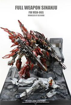 MG 1/100 Sinanju ver. Ka Full Weapon - Diorama - Gundam Kits Collection News and Reviews