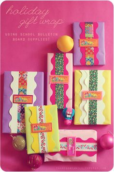 School Bulletin Inspired Gift Wrapping Ideas