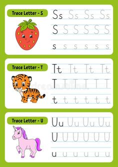 Writing Letters. Tracing Page. Practice Sheet. Worksheet For Kids. Exercise For Preschools. Learn Alphabet. Cute Characters. Stock Vector - Illustration of page, animal: 200659506