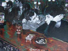 Bella Ignorancia, obra realizada en blanco y negro primordialmente, la vida nocturna en el Paris de 1930. Acrílico sobre cartón pluma.