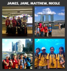 At the 1st photo we were took a picture after we took our luggage. 2nd photo, we took a photo when we were at Merlion Statue and the background was Marina Bay Sands and I'm so surprised when it looks the cloud was over the tower.. The 3rd photo is same with the 2nd picture at the Merlion Statue and the 4th picture, we were at S.E.A Marine Aquarium Life Park, Sentosa Island
