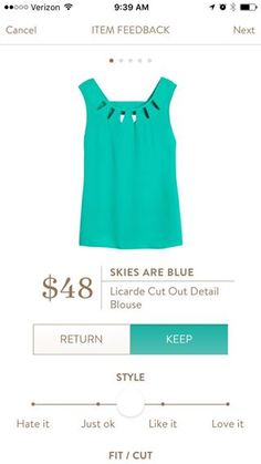 Skies Are Blue Licarde Cut Out Detail Blouse...details!!