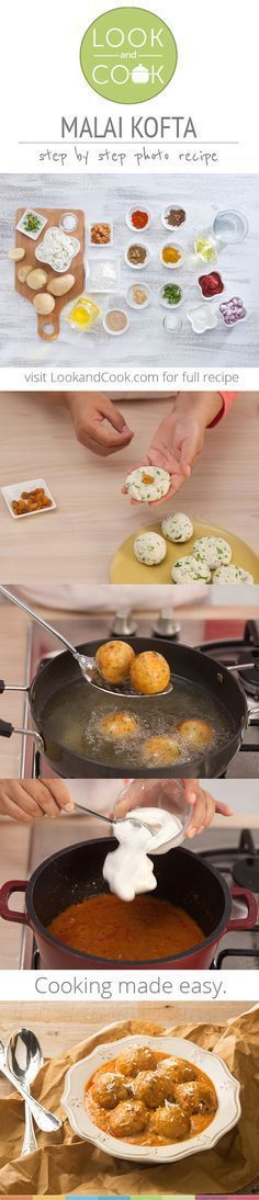 Malai Kofta Recipe ( Malai Koftas are scrumptious vegetable dumplings deep-fried and simmered in a rich creamy gravy, bursting with the flavour of traditonal spices. Paneer Recipes, Indian Food Recipes, Look And Cook, Punjabi Food, Vegetable Dumplings, Desi Food, India Food, Indian Dishes, Love Food