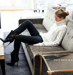 Cable knit, black skinnies, booties