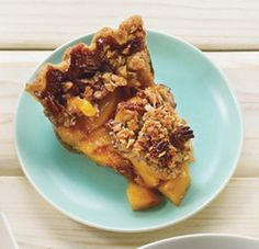 Deep-Dish Peach Pie with Pecan Streusel Topping Recipe at Epicurious.com