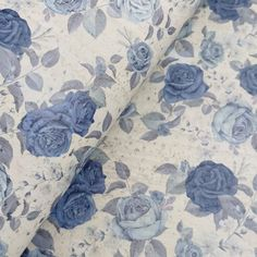 Portuguese cork fabric, Blue Roses printed on Gray cork / (S) Cork Sheet, Cork Fabric, Blue Roses, Portuguese, Print Patterns, 50th, Craft Projects, Etsy Shop, Make It Yourself