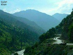 So fantastic nature beauty wonderful road view greenish mountains cloudy weather in Naran Swat valley Khyber Pakhtunkhwa Pakistan
