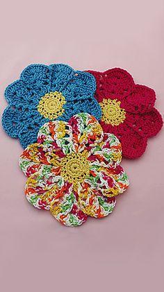 Flower Dishcloth: free fast n easy #crochet #pattern