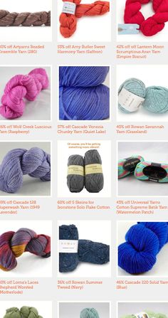 """Craftsy Close-Out Sale! We have tons of yarn on sale for the absolute last time at discounts up to 65%! Get designer brand yarns like Malabrigo and Amy Butler, all at super discounts! Click the image to browse the selection today before we run out of your favorites! Click """"Repin"""" to spread the word about this fantastic sale! #knitting #crocheting #yarndeal"""