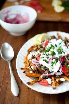 Loaded Greek Sweet Potato Fries