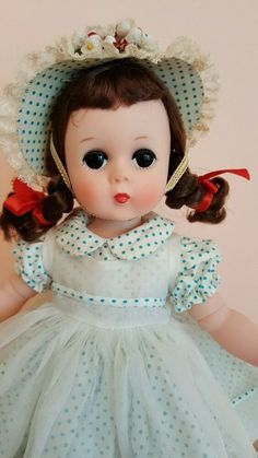 She is in her original box with original pink tissue & neck liner. The box has had no repairs. ~ ORIGINAL BOX ~ UNPLAYED WITH CONDITION ~. Old Dolls, Antique Dolls, Vintage Dolls, Vintage Madame Alexander Dolls, Blue And White Dress, Doll Patterns, Paper Dolls, Baby Dolls, Originals