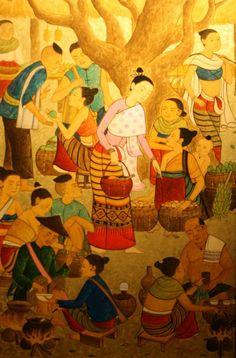 Thai Lanna (วิถีไทยล้านนา) Thai Pattern, Thai Design, Thailand Art, Thai Art, Backgrounds Free, Indian Paintings, Artist Painting, Asian Art, Love Art
