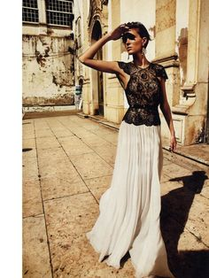 Marie Claire Italia.  Black lace and a white maxi skirt - gorgeous!  Follow us on #facebook:  https://www.facebook.com/westfieldsanfranciscocentre