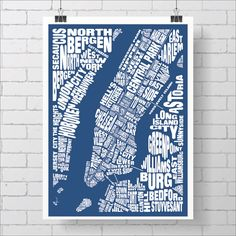 New York City Neighborhoods Map Print / Manhattan Map  Custom
