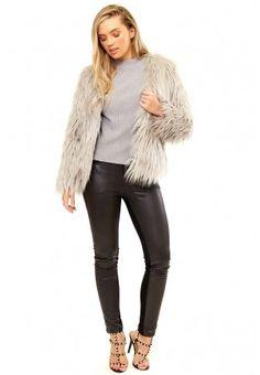 Fiore - Grey Fluffy Faux Fur Coat