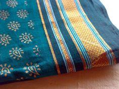 Teal Turquoise Gold - Indian ILKAL Handloom Cotton Sari Fabric in Paisley Print