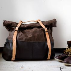 The HotShot Large Weekender Bag in Leather and Waxed Canavas by AwlSnap