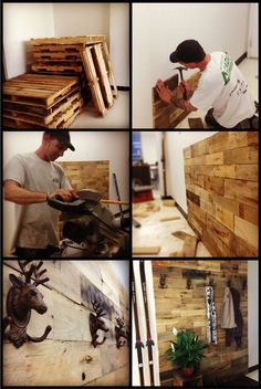 wood pallet wall... LOVE the hooks! Excellent idea!