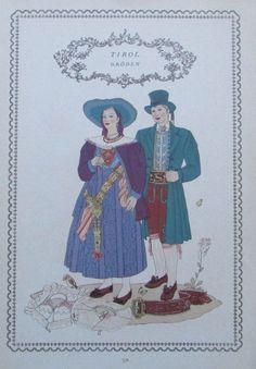 Tracht Tirol GRÖDEN 1937 Alpenländer alter Druck old print national costume
