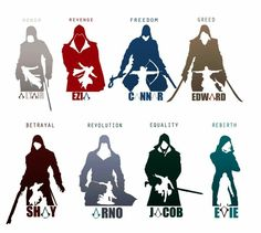 Assassins Creed heroes and loose representations.