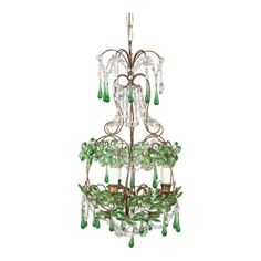 French Green Glass and Crystal Chandelier Clear Glass, Glass Beads, Green Chandeliers, French Chandelier, Crystal Decor, Faceted Crystal, Green Flowers, Home Lighting, Tea Lights