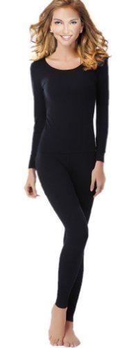 Women's Thermal Underwear Set Top & Bottom Fleece Lined, W1 Black, Small $15.99