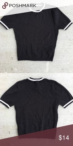 """Top Sz L Forever 21 Knit Top Size Large Fits Medium also and has lots of Stretch.  Color Black & White  Similar American Apparel  Style 90""""S Vibes Sporty Knit Top  Sits at natural waist. Not cropped and not long. Like New Condition but listed good because it has a few fuzzies that it came with :)  #top #knit #sporty #90's #vibes #forever21 Forever 21 Tops Tees - Short Sleeve"""
