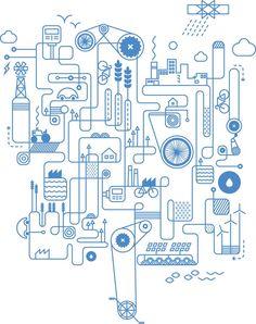 Machine-y illustration, nice and clean Design Graphique, Art Graphique, Line Design, Icon Design, Rube Goldberg Machine, Line Illustration, Pictogram, Grafik Design, Chakras