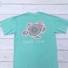 Summer Boho Shelly™ Mandala Short Sleeve Tee in Chalky Mint - Shelly Cove Mandala Print, Mandala Design, Turtle Clothes, Shelly Cove, Bohemian Summer, Boho, Comfort Colors, Summer Shirts, Cute Shirts