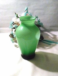 Vintage Green glass vase, 3 green tones, 1970s vase, home decor, flower vase, good condition by VickiesVintageroom on Etsy
