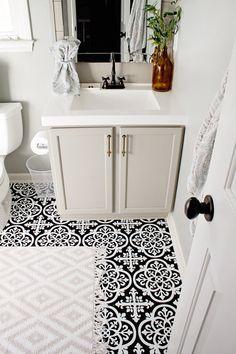 Elizabeth Burns Design - Budget Bathroom Makeover Magnetic Gray Floorpops Peel and Stick Tile Vinyl Tile Bathroom, Vinyl Tiles, Bathroom Floor Tiles, Bathroom Ideas, Budget Bathroom, Bathroom Makeovers, Vinyl Tile Backsplash, Cheap Bathroom Makeover, Grey Bathroom Cabinets