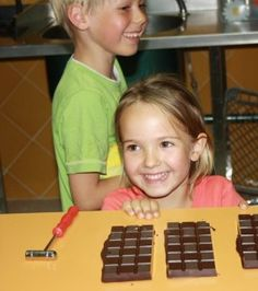 Making chocolate bars at the World´s Smallest Chocolate Factory, in Mijas, Spain.
