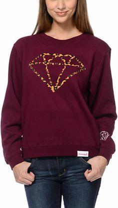 Diamond Supply Leopard Rock Maroon Crew Neck Sweatshirt at Zumiez : PDP