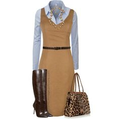 """Brown Sheath Dress"" by uniqueimage on Polyvore"