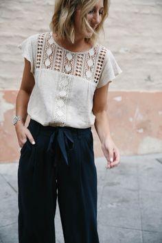 crochet yoke top with butterfly sleeves