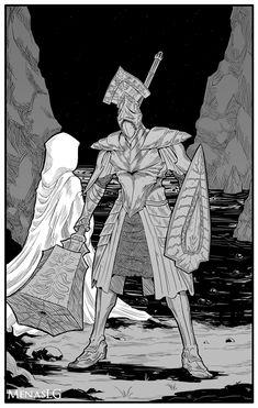 Demon's Souls: Garl Vinland and Maiden Astraea by MenasLG Resident Evil, Videogames, Bloodborne Art, Soul Game, Dark Souls Art, Armadura Medieval, Knight Art, Bear Art, Fantasy Illustration