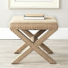 Safavieh Palmer X-bench Nailhead Beige Ottoman - Free Shipping Today - Overstock.com - 15668457 - Mobile
