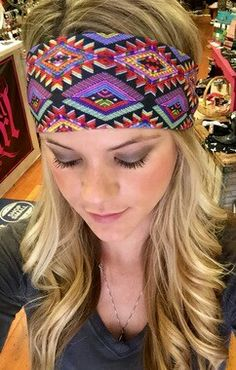 "Way Out There Aztec Print Stretch 4"" Thick Fashion Adult Headband  www.katescountrychicboutique.com"