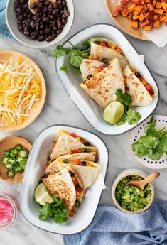 You'll love this easy vegan quesadilla recipe! It's packed with fresh, flavorful ingredients like sweet potatoes, peppers, and black beans. A delicious weeknight dinner or game day snack! | Love and Lemons #quesadillas #vegan #gamedayfood #appetizers Spicy Recipes, Mexican Food Recipes, Whole Food Recipes, Vegetarian Recipes, Lunch Recipes, Ovo Vegetarian, Korean Recipes, Summer Recipes, Delicious Recipes