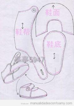 Descargar gratis patrón zapatos bebé o muñeca fofucha goma eva