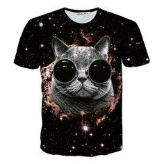2017 New Fashion Men/Women 3D T-Shirt Funny Print Glasses Cat Space Galaxy T Shirt Slim Summer Anime Tops Tee