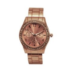 Boyfriend Style Bangle Watch with Stones - Rose Gold