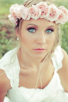 Bride with Crown of Pink Roses