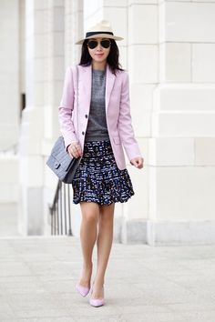 J.CREW PLEATED LATTICE SKIRT IN HIDDEN FLORAL, PLEATED SKIRT, J.CREW COLLECTION WOMEN'S LUDLOW BLAZER IN LIGHTWEIGHT ITALIAN WOOL, J.Crew AVA SUEDE PUMPS, Alice + Olivia Collared Crewneck Sweater, Anine Bing Panama Hat, Chanel reissue jumbo purse, Ray-Ban original aviator, double side pearl earrings. dress for work, business outfit