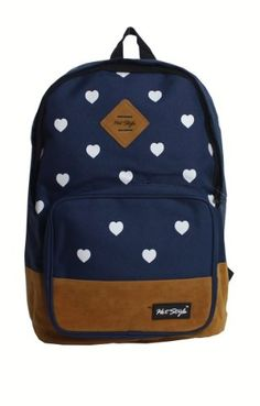 Wingler Fashion Colorful Cartoon Heart Unisex Canvas Shoulder Bag Handbag School Bag Backpack - A5 (blue)