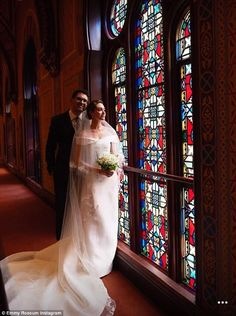 Intimate: The pair were married at the East 55th Street Conservative Synagogue in front of family and friends.