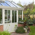 A small conservatory on the back of a town house