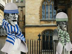 Yarn bombing - I like these. They can then give the scarves and hats and give to the homeless.